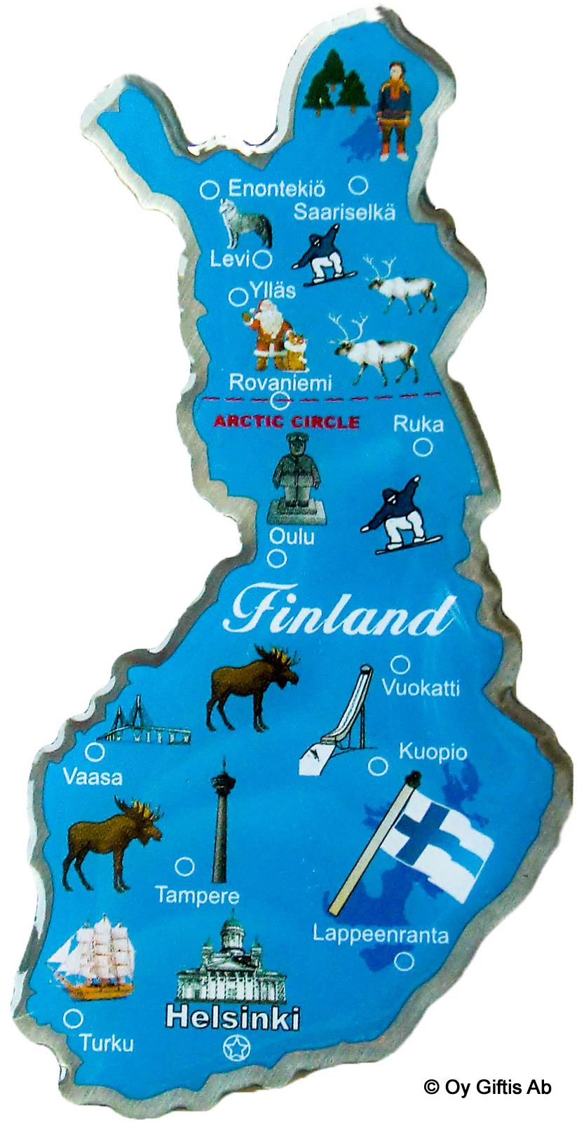 201 Suomen Kartta Metallimagneetti Sininen Oy Giftis Ab